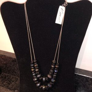 Kim Rogers two strand black beads silver Necklace